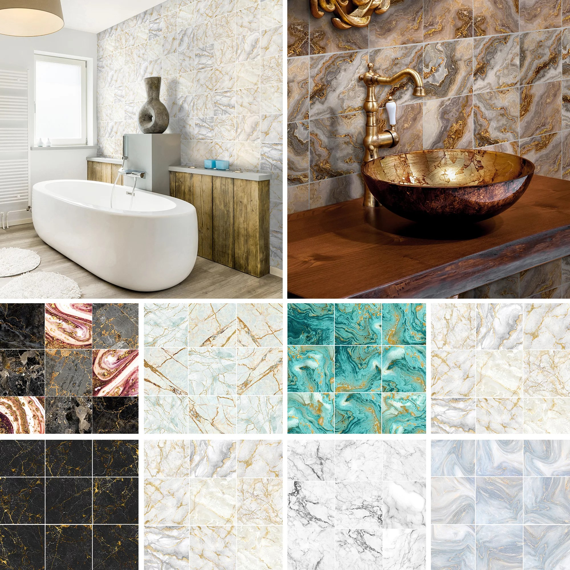 10 90pcs marble effect tile stickers stick on bathroom kitchen home wall decal self adhesive waterproof walmart com