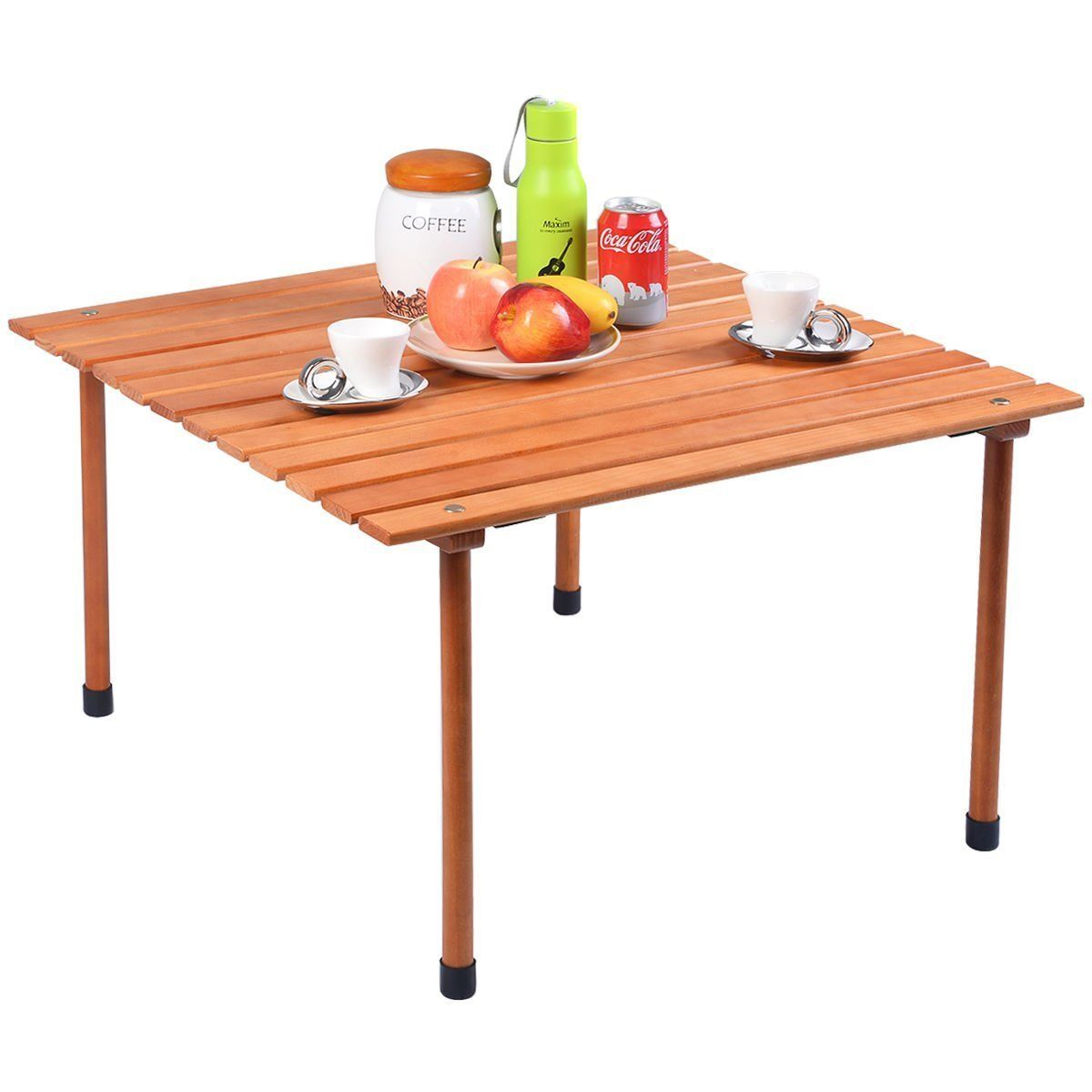 gymax folding wood roll up table camping picnic outdoor walmart com