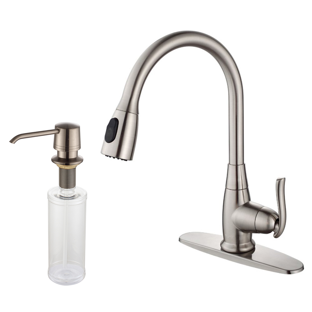 kraus kitchen faucet under cabinet lighting single handle stainless steel high arch with pull down dual function sprayer and soap dispenser in satin nickel walmart com
