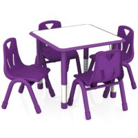 2xhome - Purple Kids Table and Chairs Set Height ...