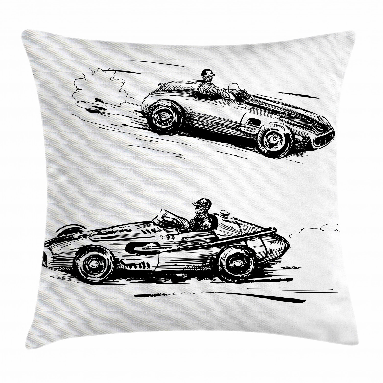 cars throw pillow cushion cover vintage racing cars hand drawn style collection nostalgic automobile sketch artwork decorative square accent pillow