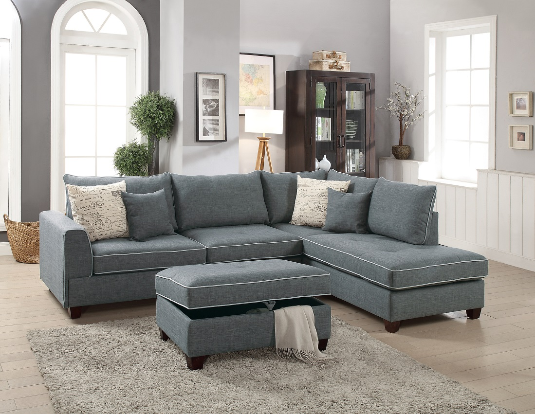 large plush sectional sofa cost to reupholster cushions beautiful design 3 piece set steel color dorris fabric crafted pillows reversible chaise storage ottoman walmart com