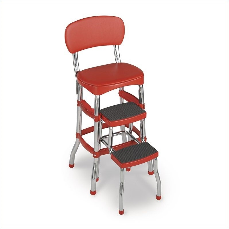 Cosco Red Retro Counter Chair Step Stool Walmart