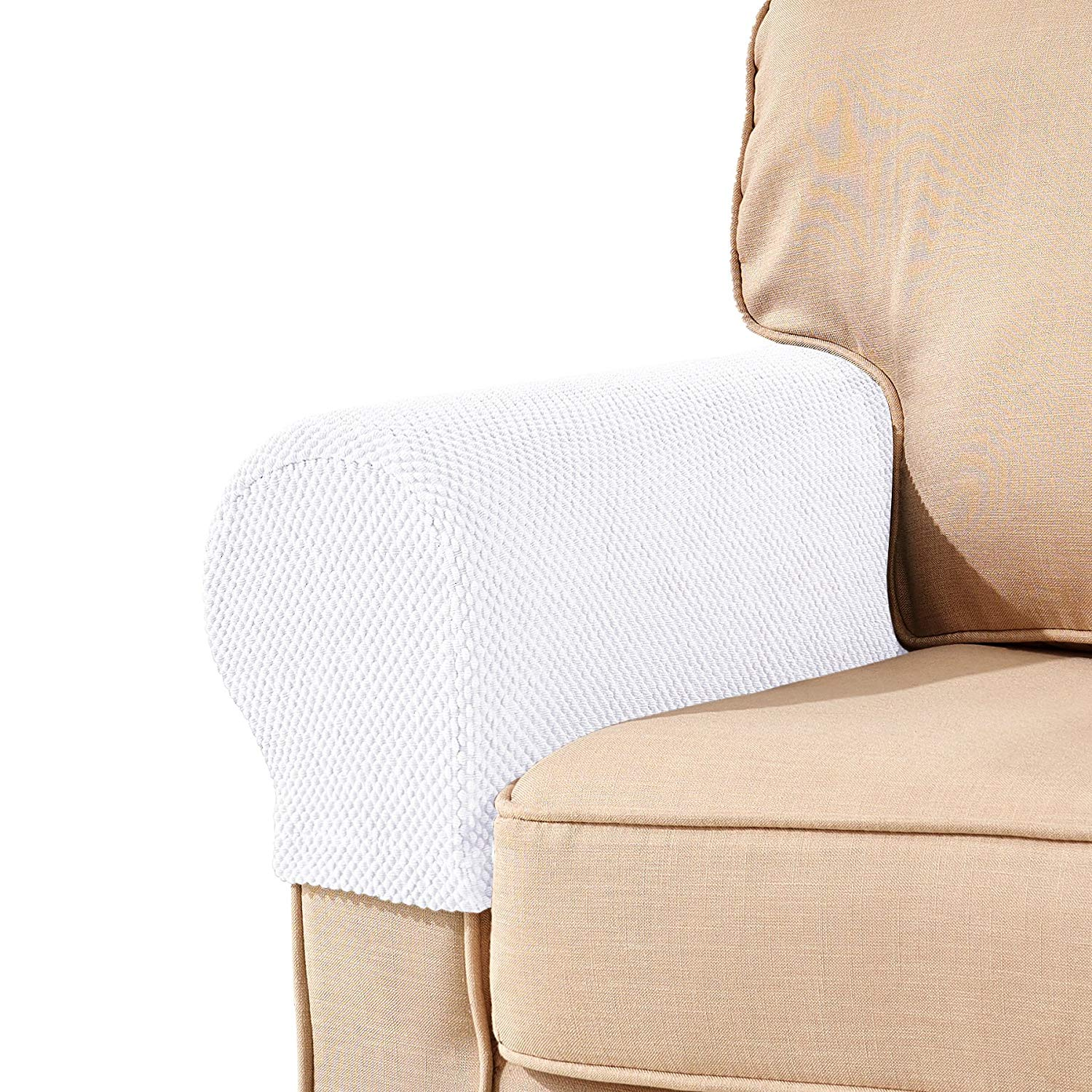 walmart armchair covers cross back dining chairs subrtex spandex stretch fabric armrest sofa slipcovers set of 2 white jacquard com
