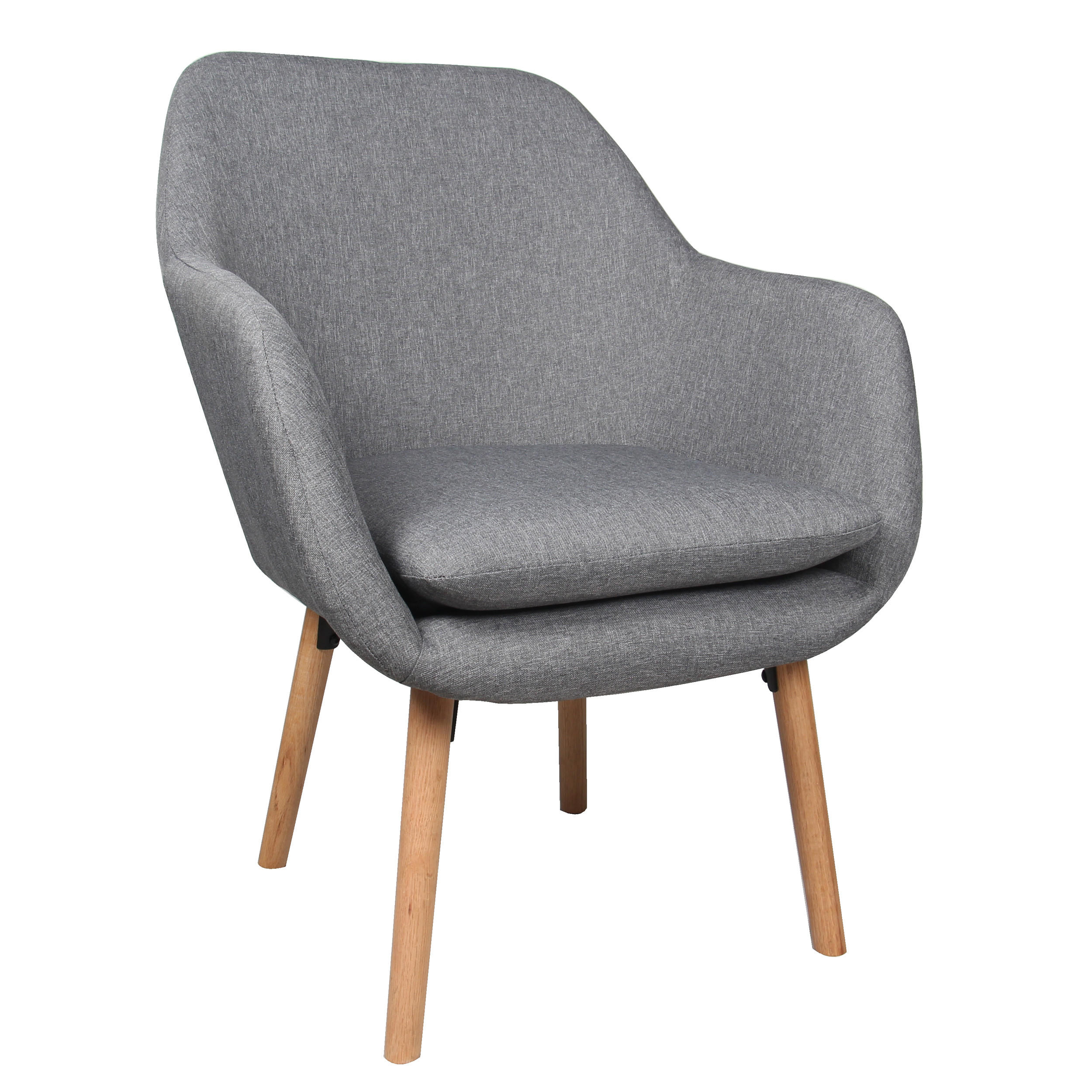 Moustache Accent Chairs Living Room Chair Modern Fabric Sofa Arm Chair Armchair With Cushion Seat Beech Wood Legs Gray