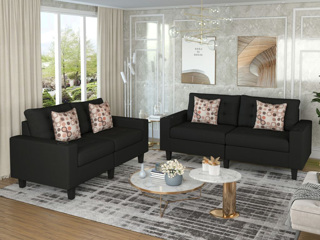 contemporary zero wall recliner 2 pieces sofa and loveseat set fabric recliner chair tufted thick cushions and two tossing cushions black