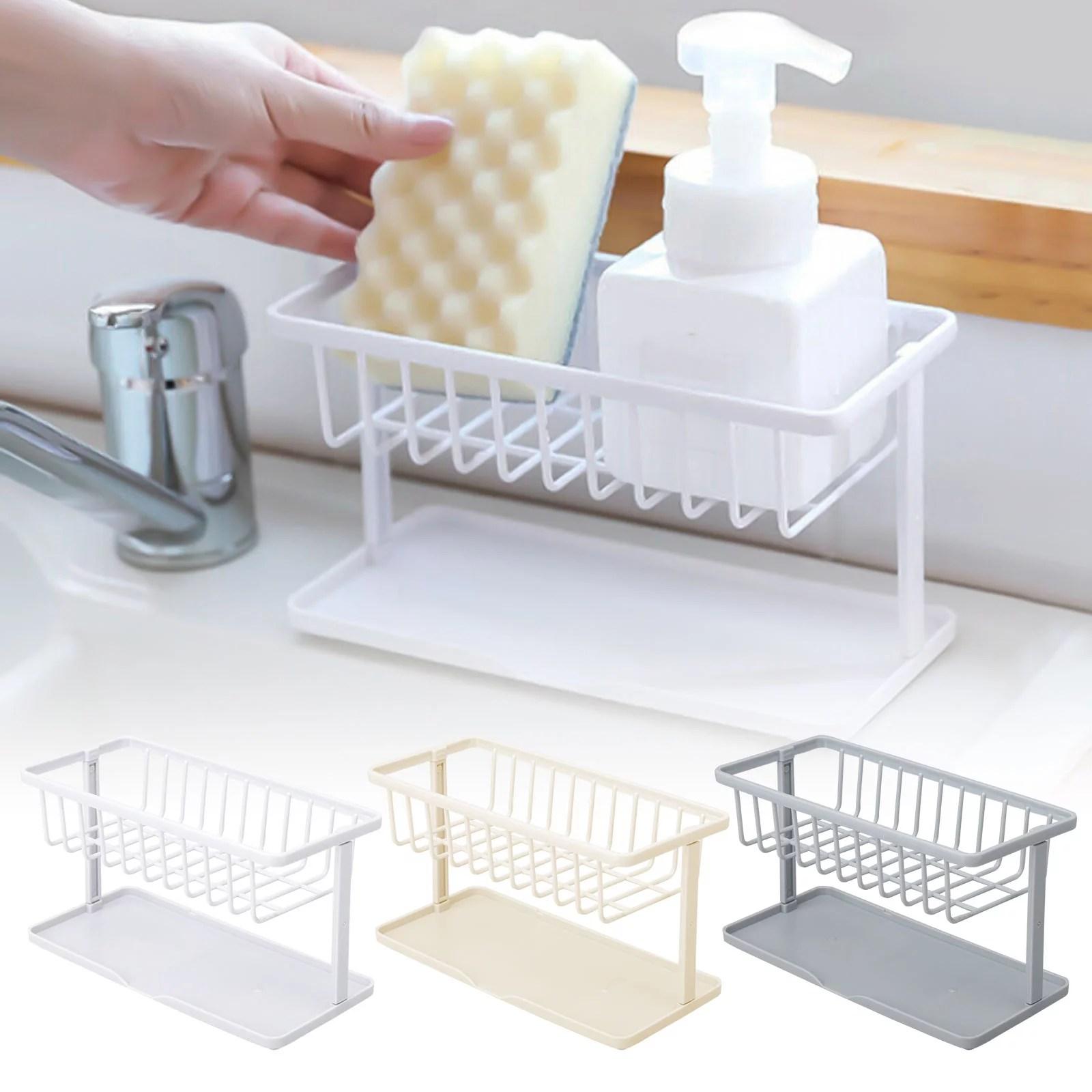 sponge holder for kitchen sink eeekit kitchen sink caddy abs plastic kitchen sink sponge brush holder organizer for soap dishwashing liquid drainer