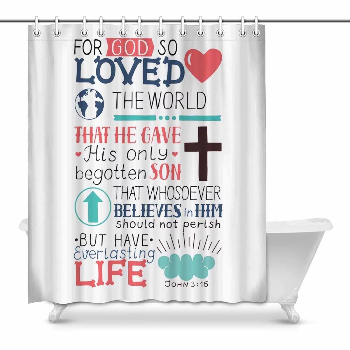Mkhert Christian Bible Verse John 3 16 For So Loved The World Decor Waterproof Polyester Bathroom Shower Curtain Bath Decorations 60x72 Inch
