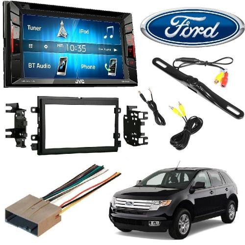 small resolution of jvc kw v140bt double din bt in dash dvd cd am fm stereo double din stereo install dash kit w wire harness for ford lincoln mercury cars rear view