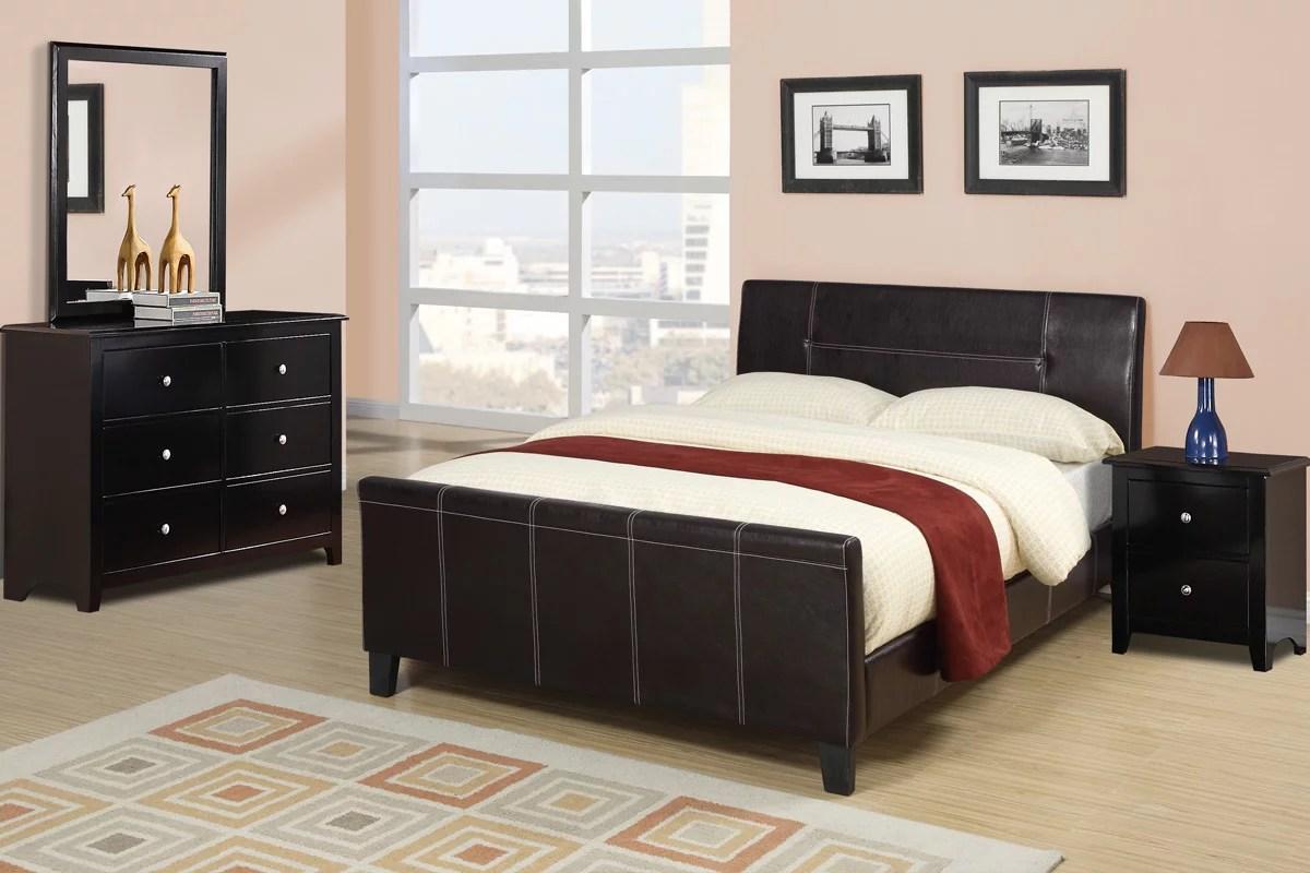sleek design modern bedroom furniture 4pc set espresso low profile platform queen size bed w faux leather upholstery dresser mirror nightstand in