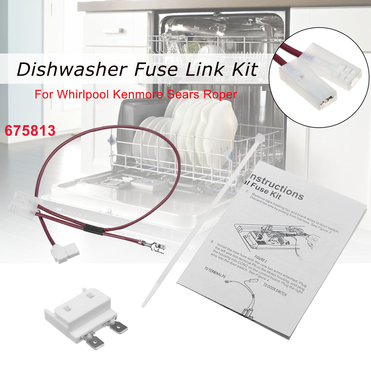 hight resolution of 675813 for whirlpool kenmore dishwasher thermal fuse link for door switch walmart com