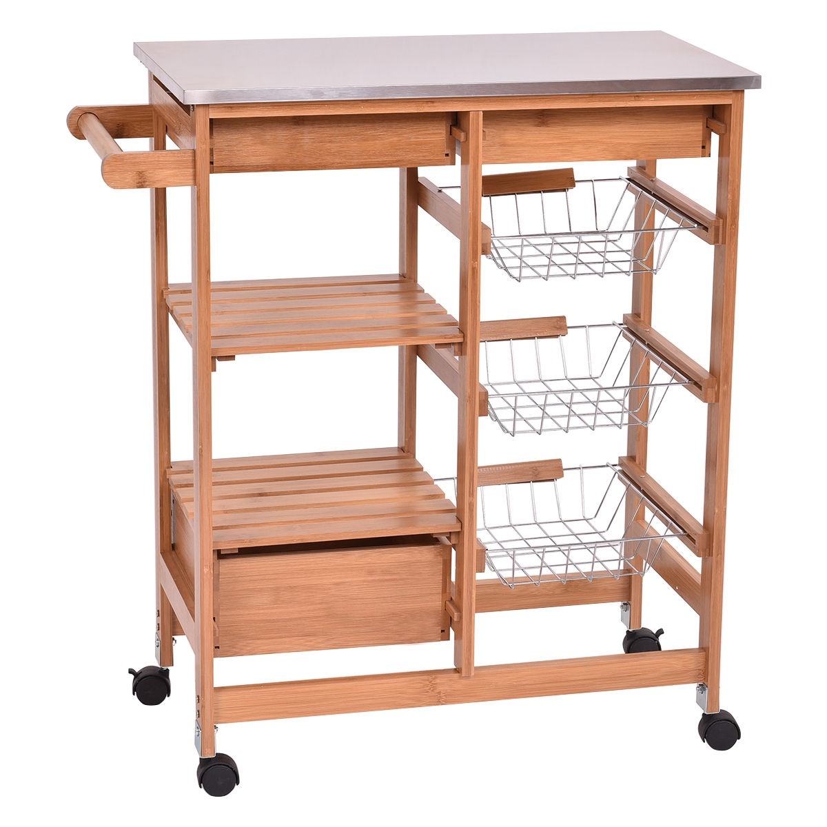 kitchen cart with drawers small lighting ideas gymax bamboo rolling island trolley storage shelf