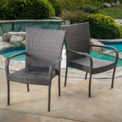 Wicker Patio Chair Set Of 2 Hancock Moore Chairs Outdoor Pe Grey Stackable Club