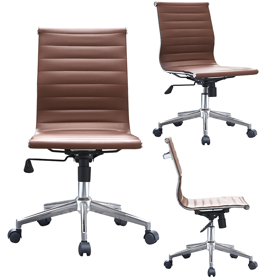 swivel office chair without arms flip flop chairs 2xhome brown modern mid back armless no ribbed pu leather tilt adjustable designer boss executive manager conference