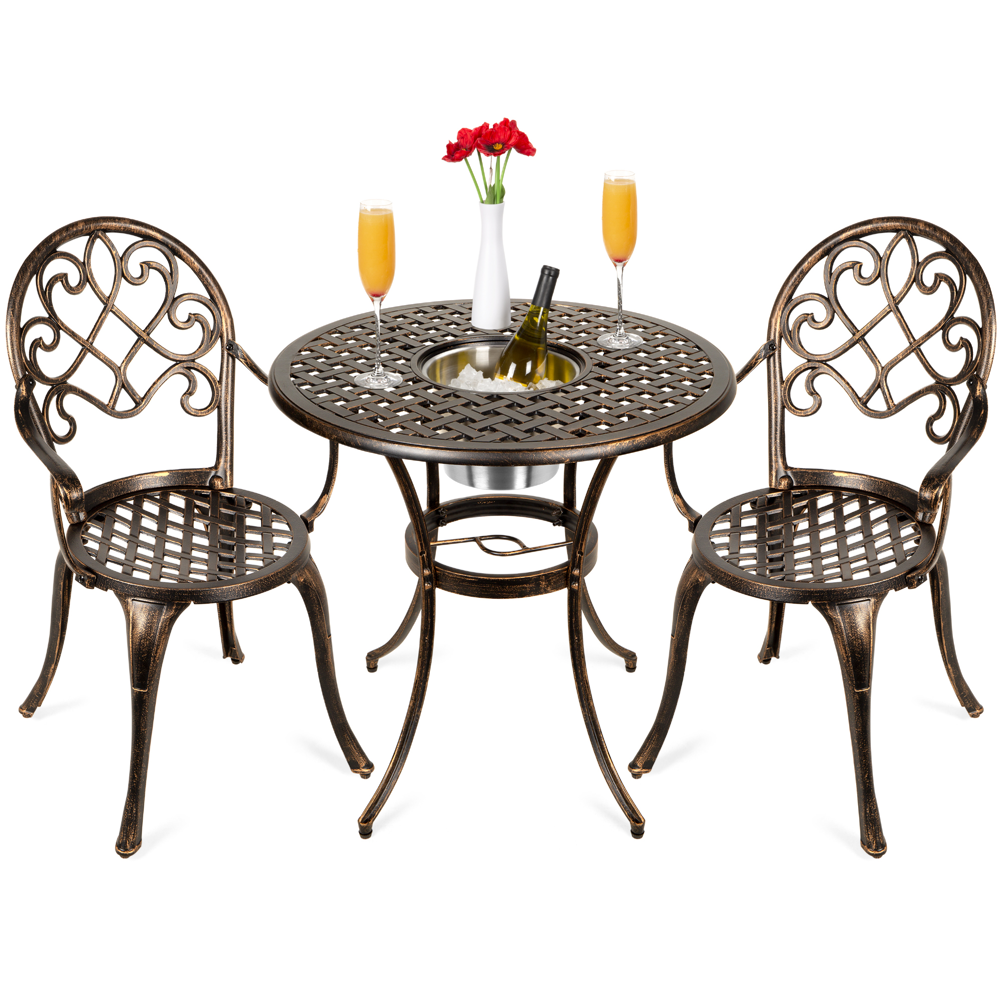 best choice products cast aluminum outdoor patio bistro table set w attached ice bucket 2 chairs copper finish walmart com