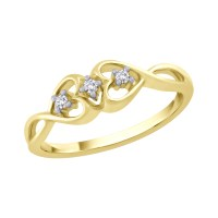 Diamond Double Heart Promise Ring in 10K Yellow Gold (1/20 ...