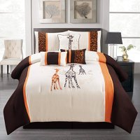 7 Pieces Complete Bedding Ensemble Beige Black Luxury