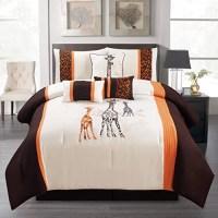 7 Pieces Complete Bedding Ensemble Beige Black Luxury