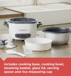 black decker 14 cup cooked 7 cup uncooked rice cooker and food steamer white rc514 walmart com [ 3001 x 3001 Pixel ]