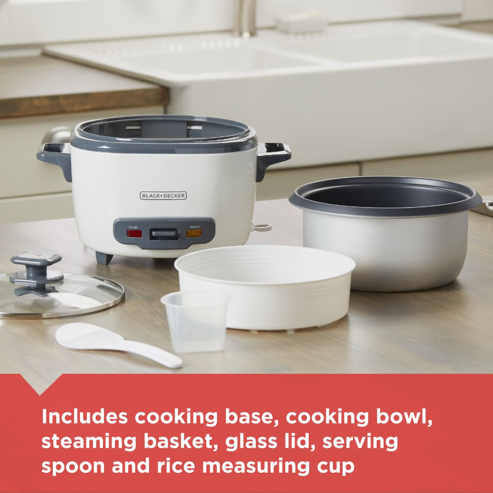 medium resolution of black decker 14 cup cooked 7 cup uncooked rice cooker and food steamer white rc514 walmart com