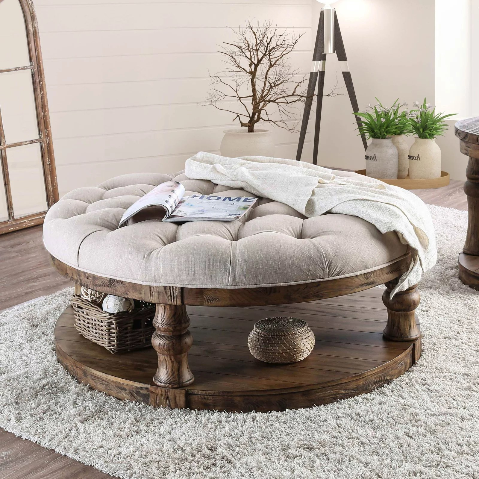 furniture of america tanenbaum rustic round coffee table ottoman
