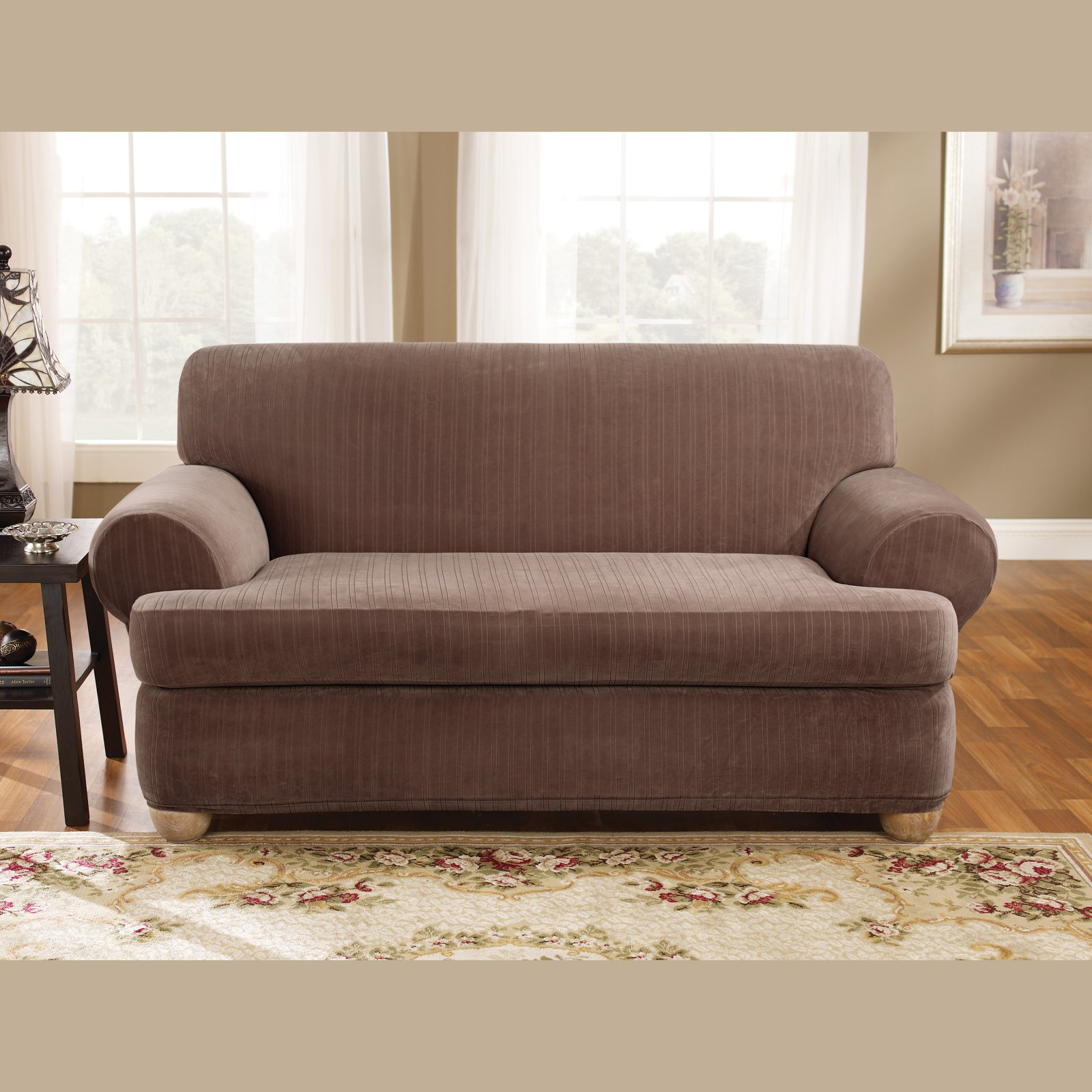 two cushion sofa slipcover cheap grey corner sofas uk sure fit stretch pinstripe t piece
