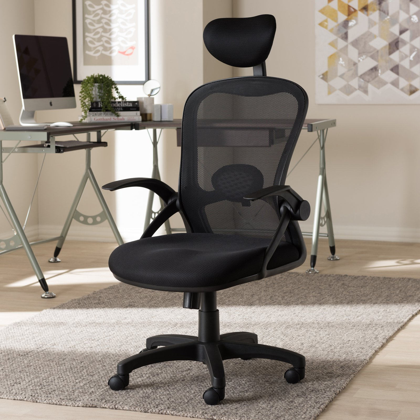Minimalist Desk Chair Baxton Studio Ernst Modern And Contemporary Ergonomic Black Mesh Office Chair
