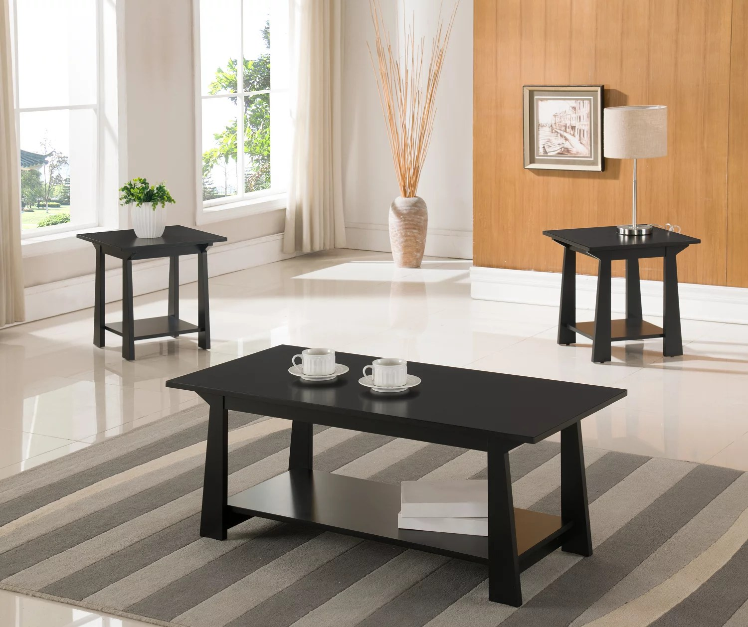 sally 3 piece coffee table set black wood with storage shelves contemporary cocktail coffee 2 end tables walmart com