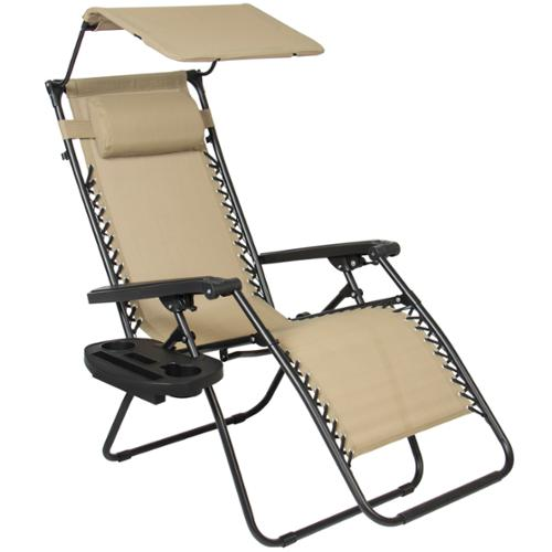 folding recliner lounge chair wooden table and chairs set zero gravity with canopy shade & magazine cup holder - walmart.com