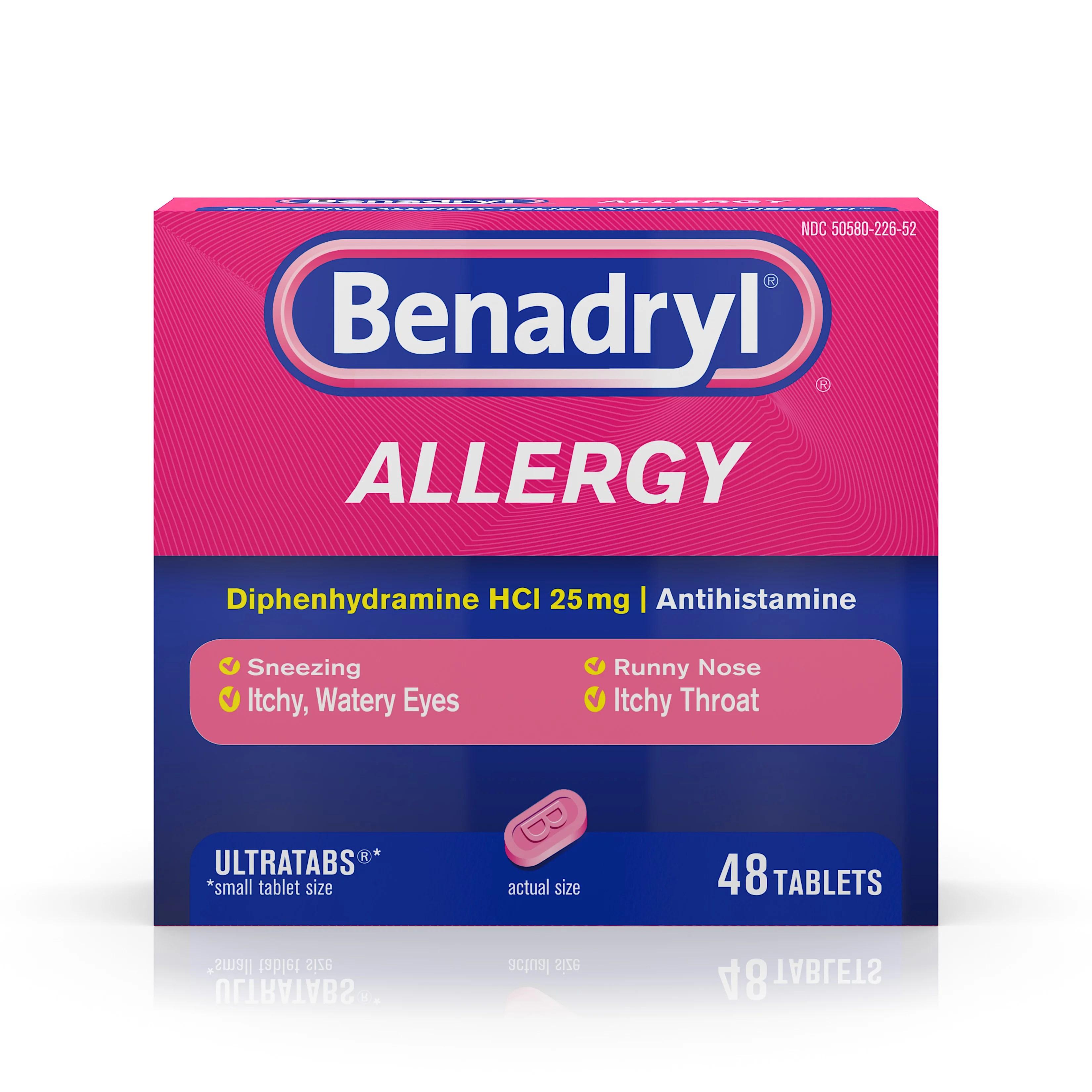 Benadryl Ultratabs Antihistamine Allergy Medicine Tablets ...