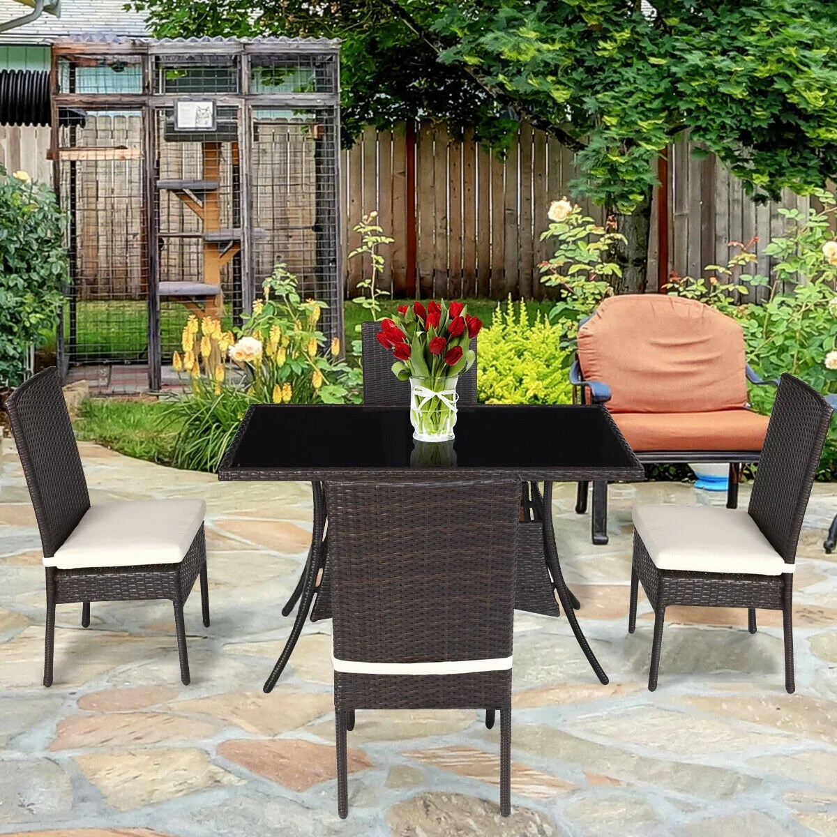 costway 5 piece outdoor patio furniture rattan dining table cushioned chairs set walmart com