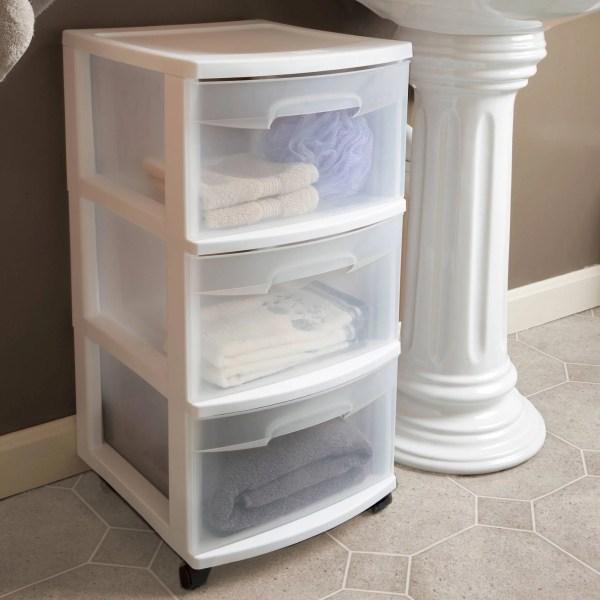 Sterilite 3 Drawer Cart- Set Of 2 Storage Organizer Plastic White
