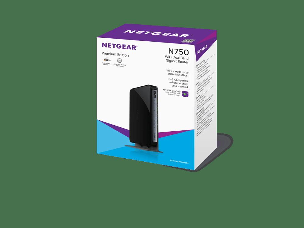 medium resolution of netgear n750 dual band wifi router 4 port gigabit ethernet wndr4300 walmart com