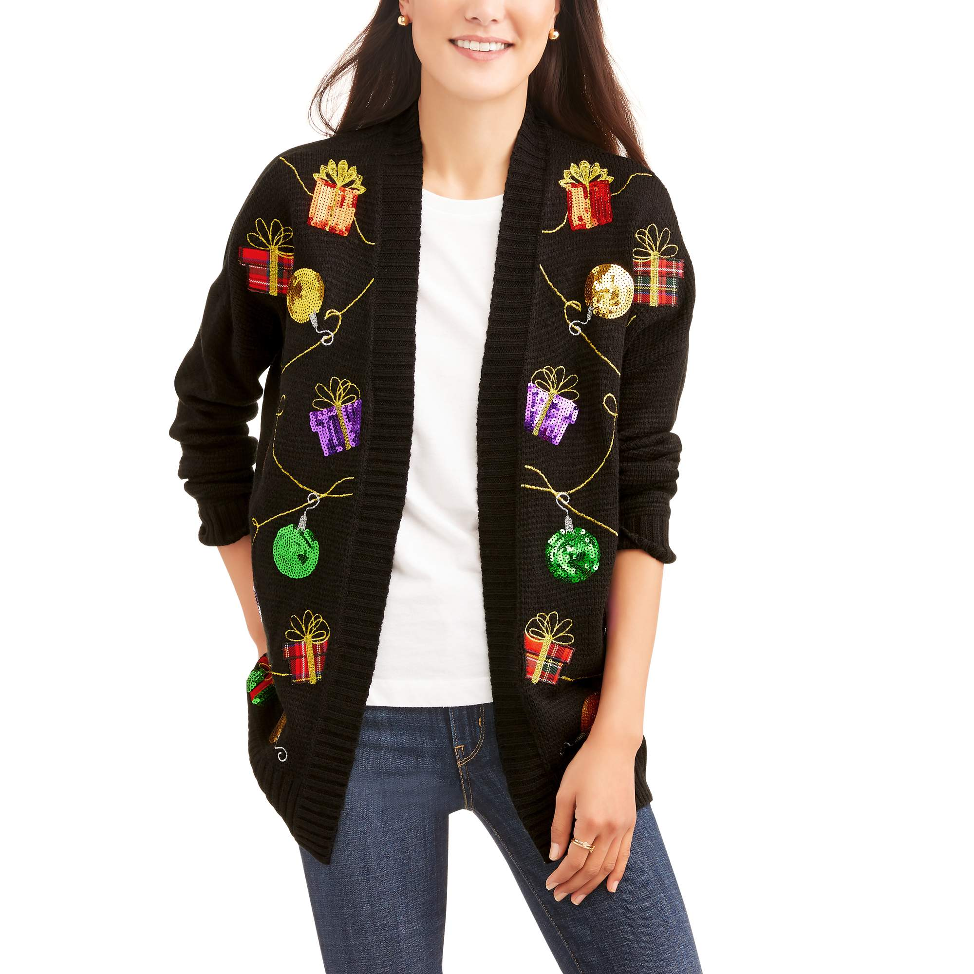 Holiday Time Womens Ugly Christmas Sweater Cardigan