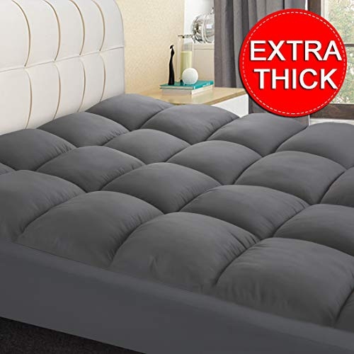 coonp mattress topper extra thick mattress pad cover cooling pillowtop with 8 21 inch deep pocket 3d snow down alternative fill olympic queen grey