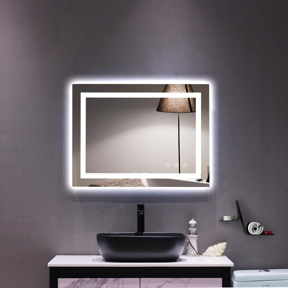 ktaxon home led lighted rectangle bathroom mirror modern wall mirror with dimmable lights wall mounted makeup vanity mirror over cosmetic bathroom