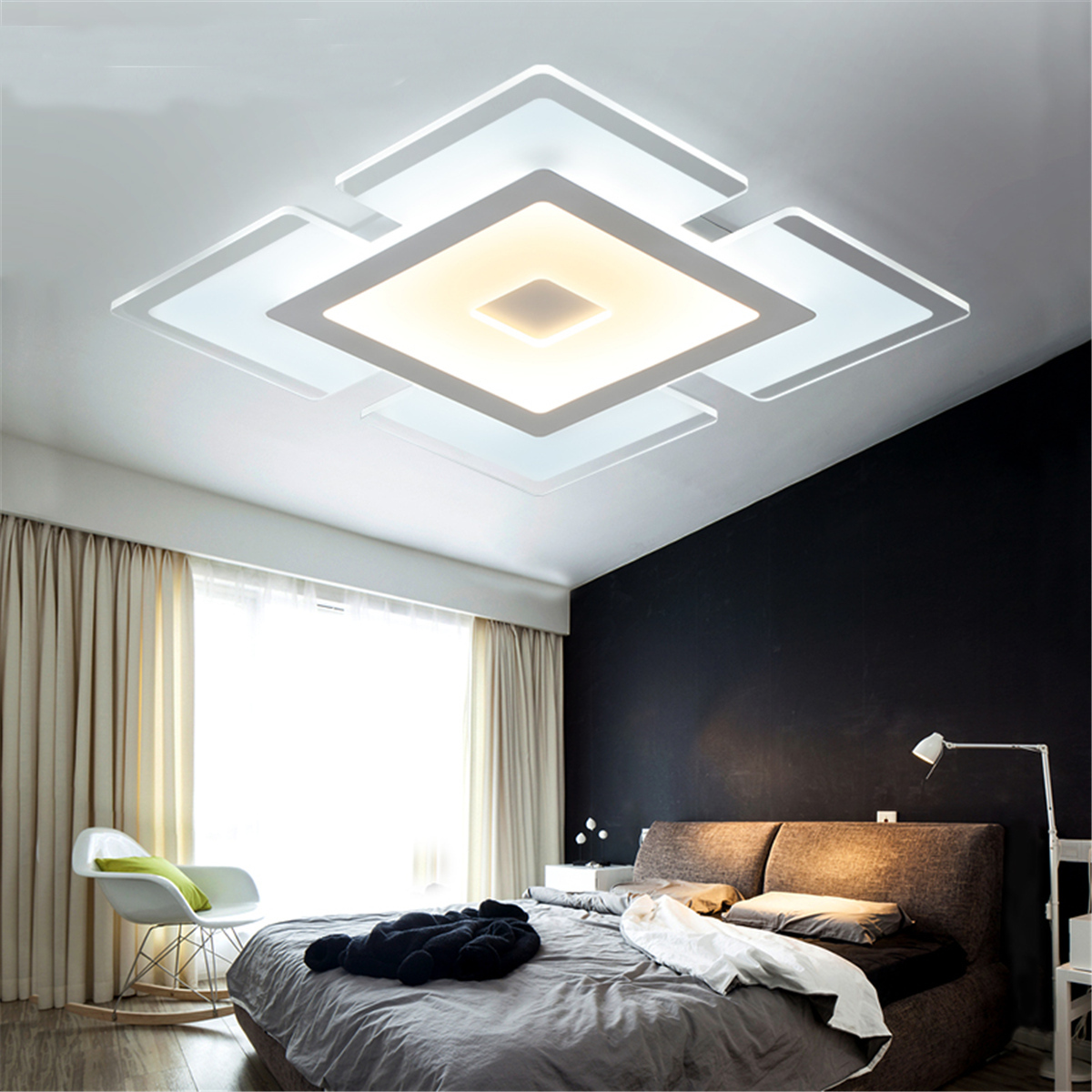 led ceiling light living room seating arrangement modern elegant square acrylic bedroom home lamp walmart com