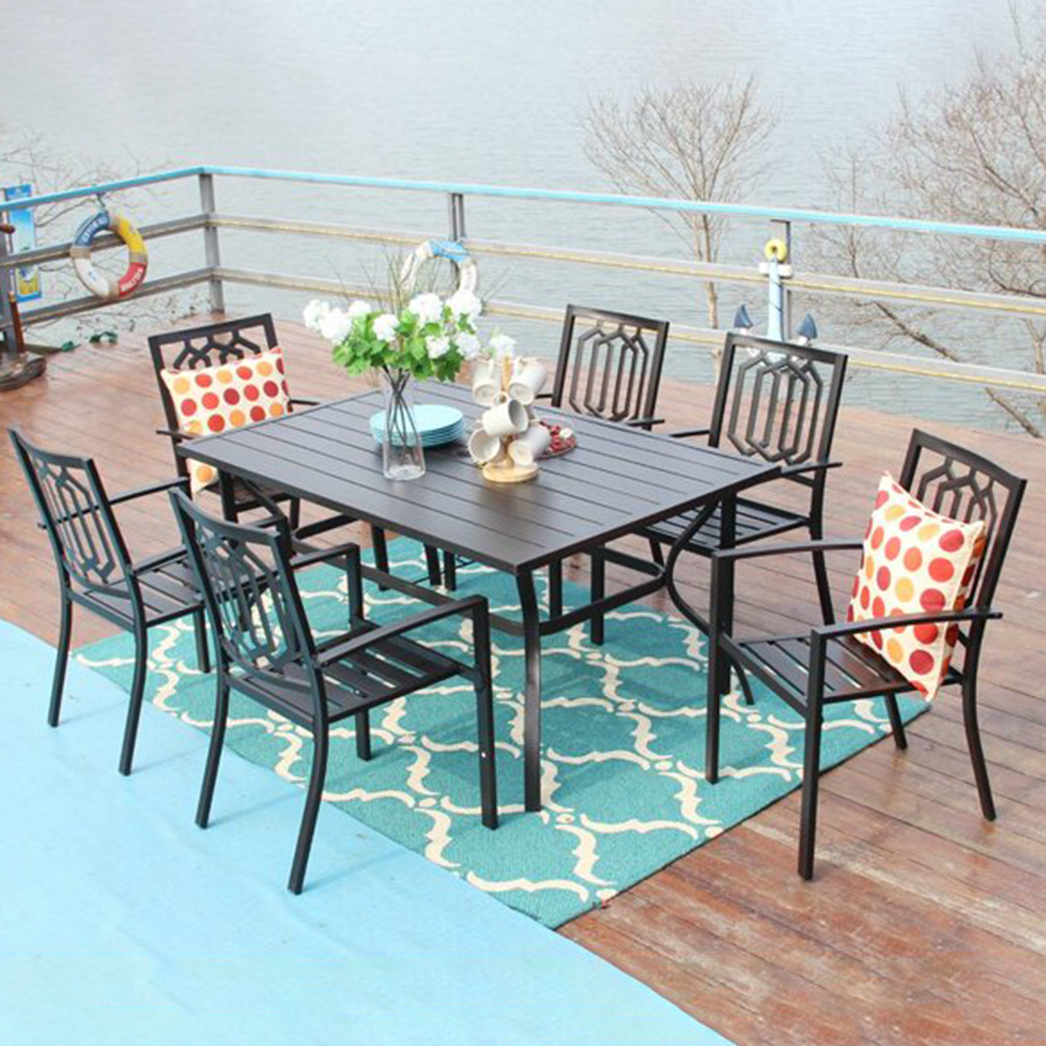 mf studio 7pcs outdoor dining sets metal patio furniture with 6pcs bistro dining chairs and 1pc rectangular dining table suitable for 6 people black