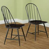 Windsor Mixed Media Dining Chair, Set of 2, Black/Espresso ...