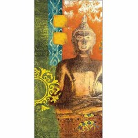 Bright Colorful Patterned with Medallion Buddha Painting