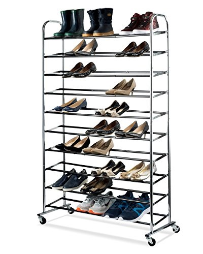 sagler shoe organizer chrome shoe storage supreme fifty pair shoe rack closet with durable wheels for easy mobility new open box