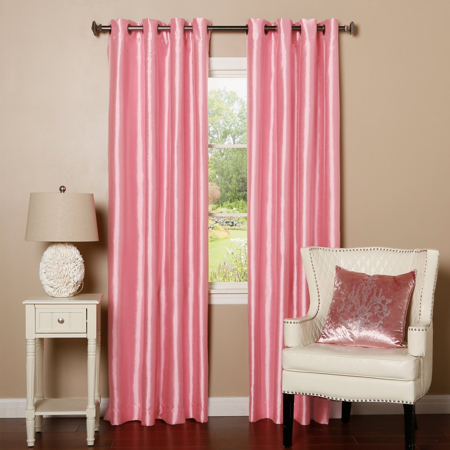 1 PANEL Nancy SOLID LIGHT PINK SEMI SHEER WINDOW FAUX SILK