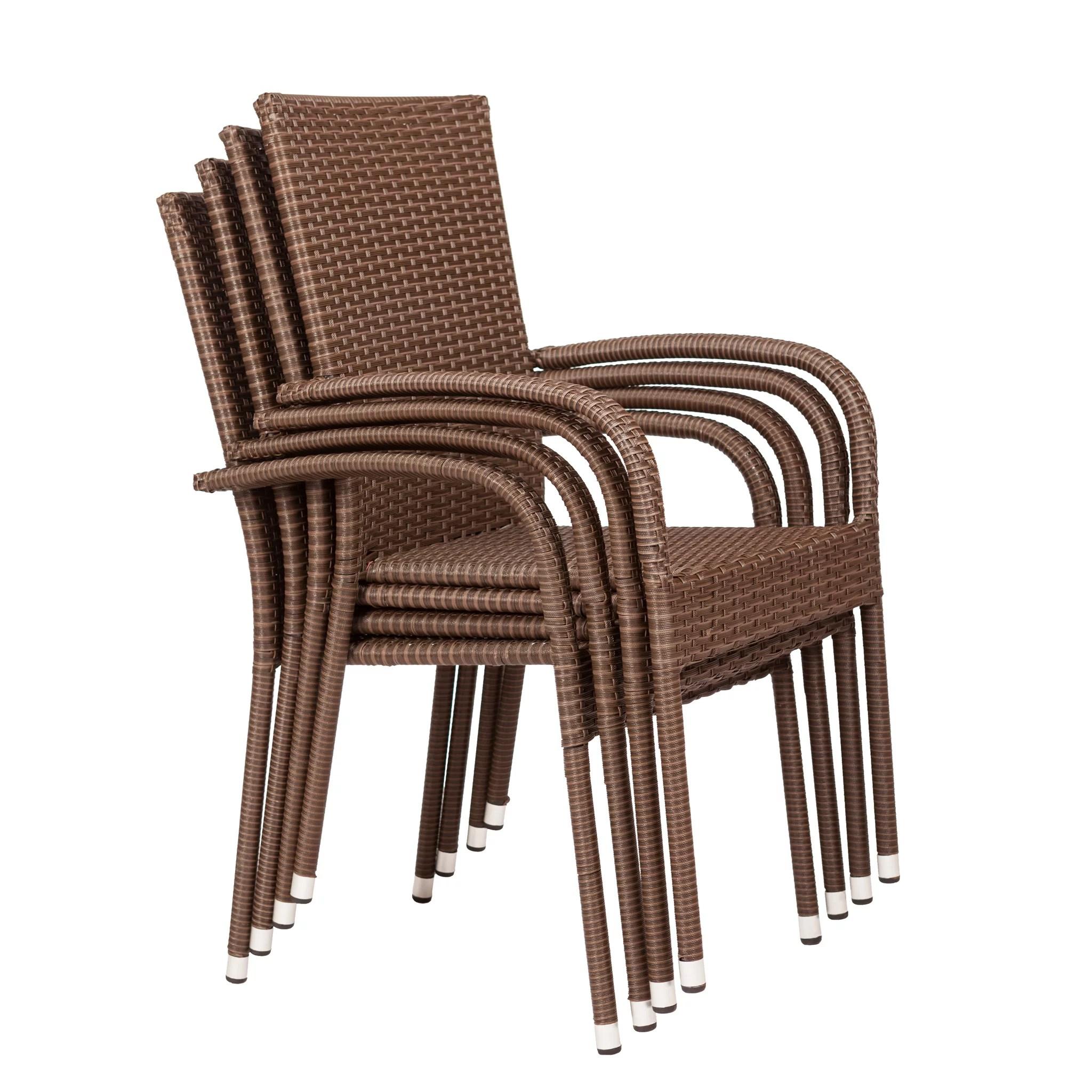 balkene home morgan resin wicker stacking patio dining chair 4 pack in mocha walmart com