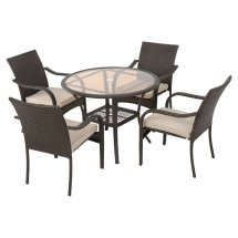 Bailey Wicker 5 Piece Patio Dining Set With Cushion