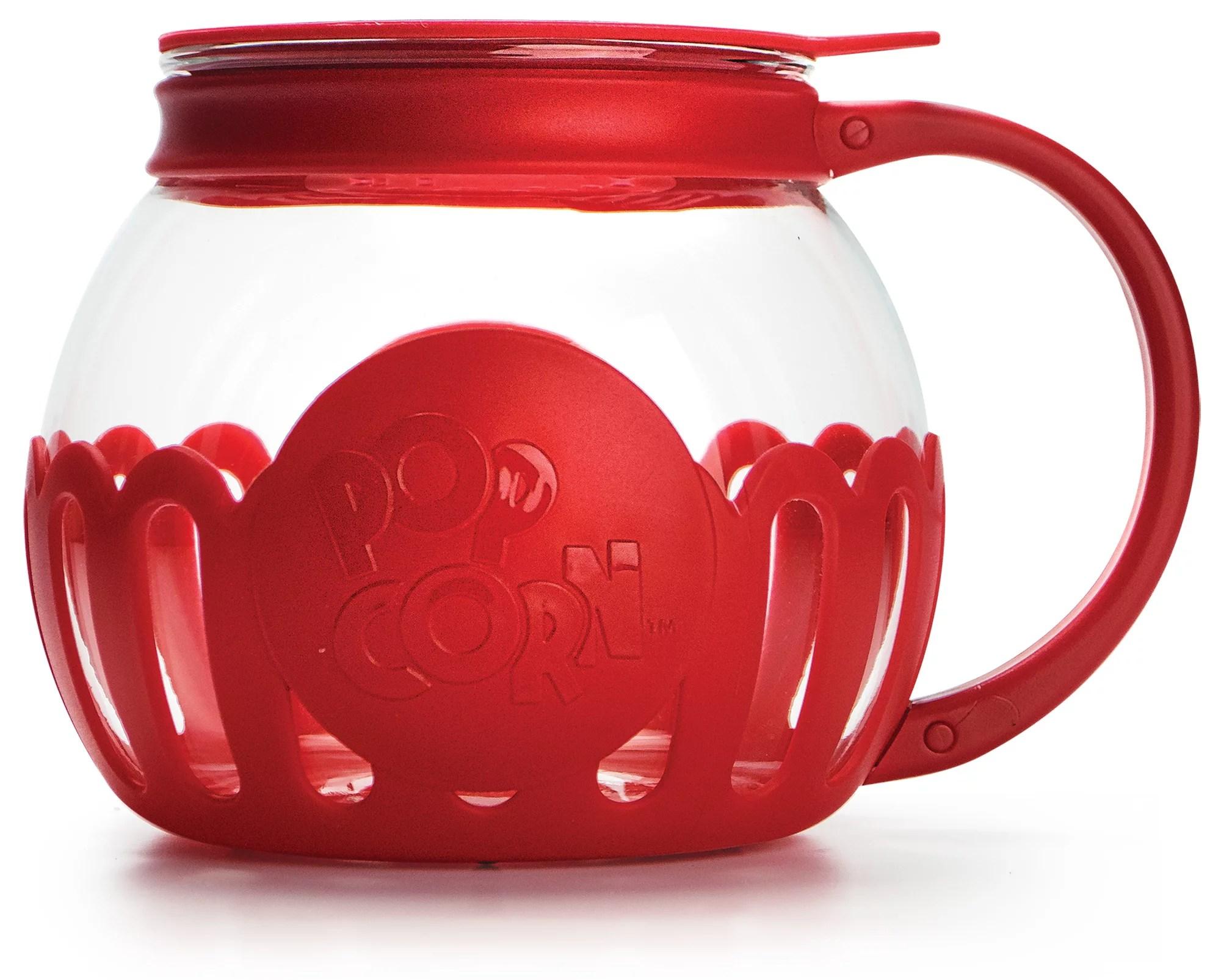 tasty borosilicate glass micro pop microwave popcorn popper 1 5 qt red walmart com