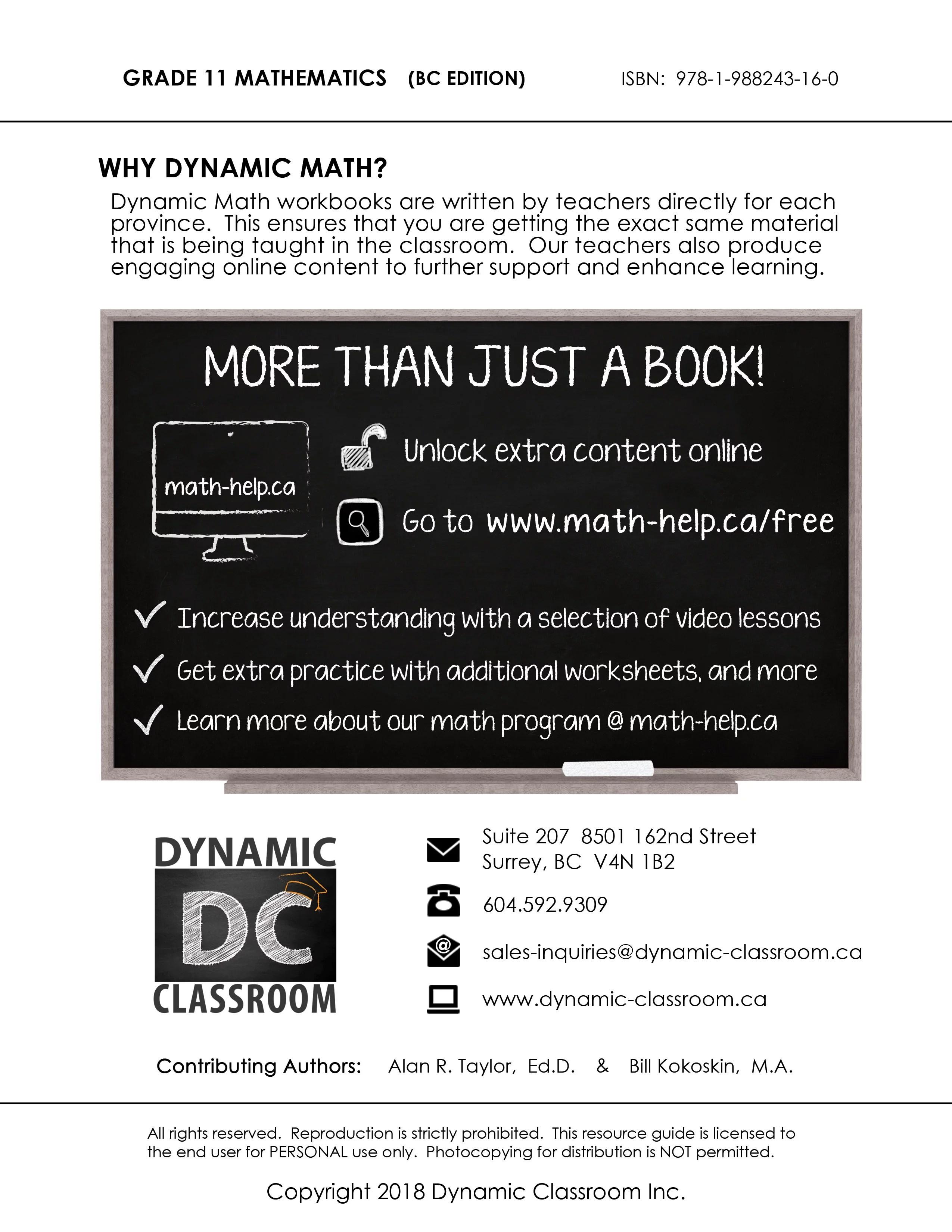 Dynamic Math Workbook for Grade 11 [ 2000 x 2000 Pixel ]