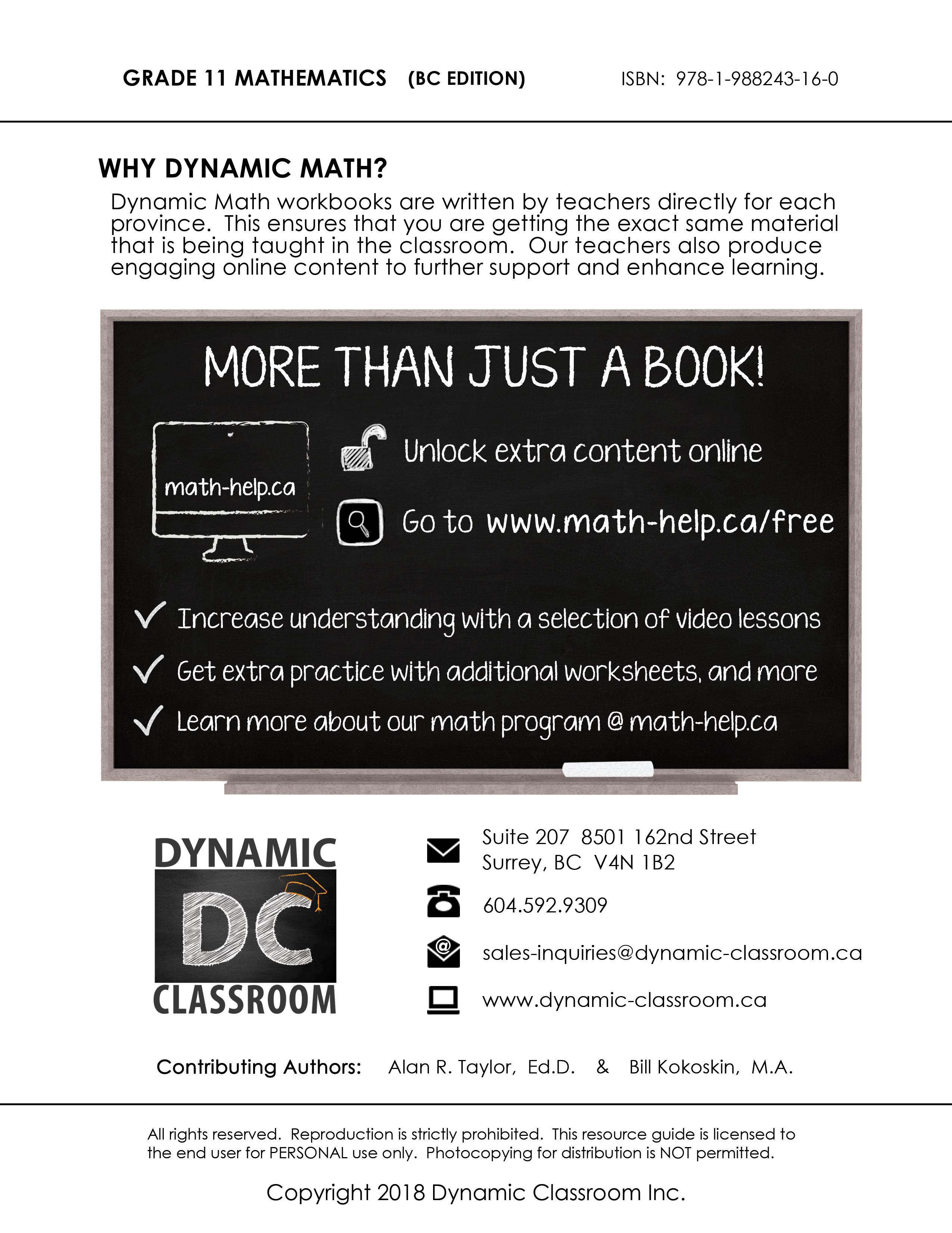 hight resolution of Dynamic Math Workbook for Grade 11