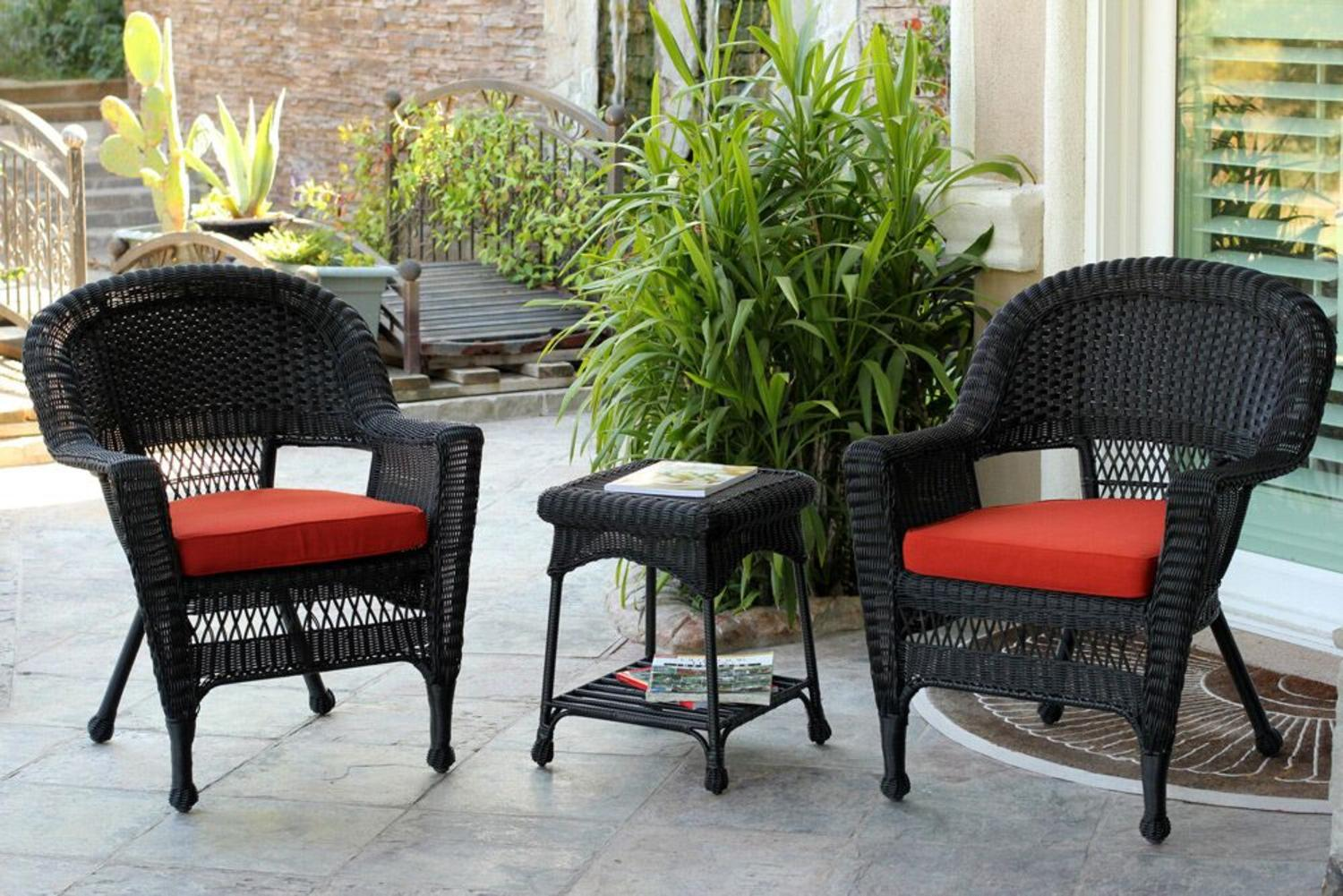 Red Patio Chairs 3 Piece Black Resin Wicker Patio Chairs And End Table Furniture Set Red Cushions