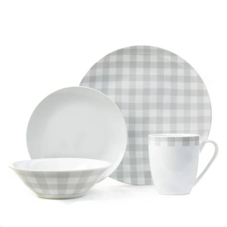 Plaid Collection 16-Piece Gray Porcelain Dinnerware Set, Walmart Exclusive