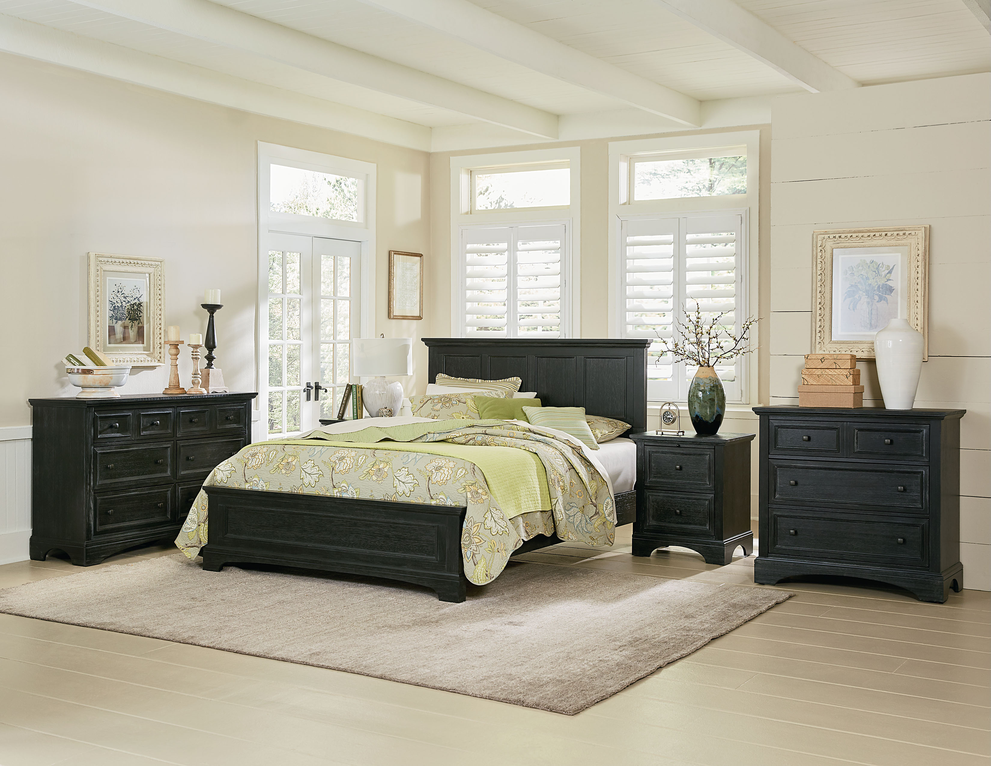 farmhouse basics queen bedroom set with 2 nightstands and 1 dresser